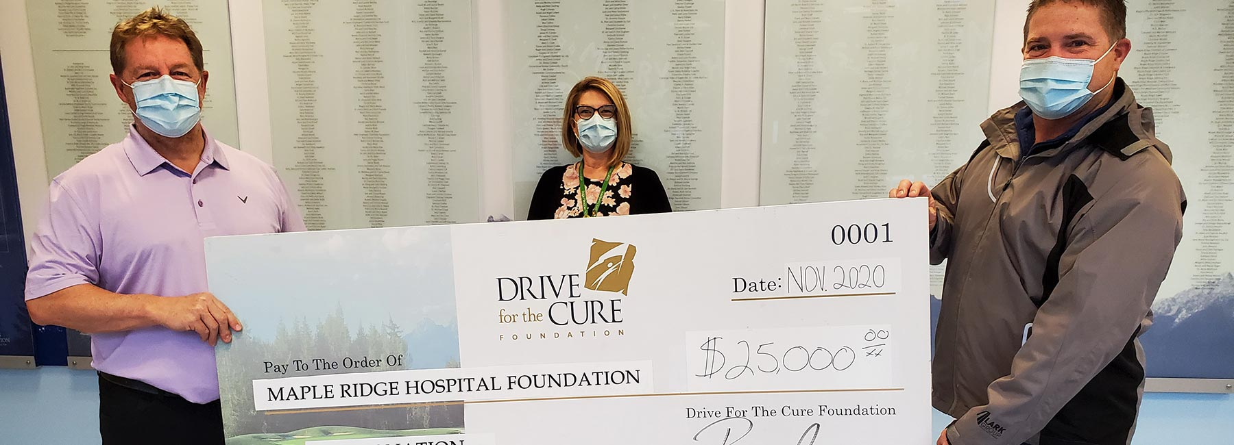 Drive for The Cure Cheque Presentation